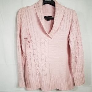 Style & Co. Pink Cable Knit Sweater Size Large
